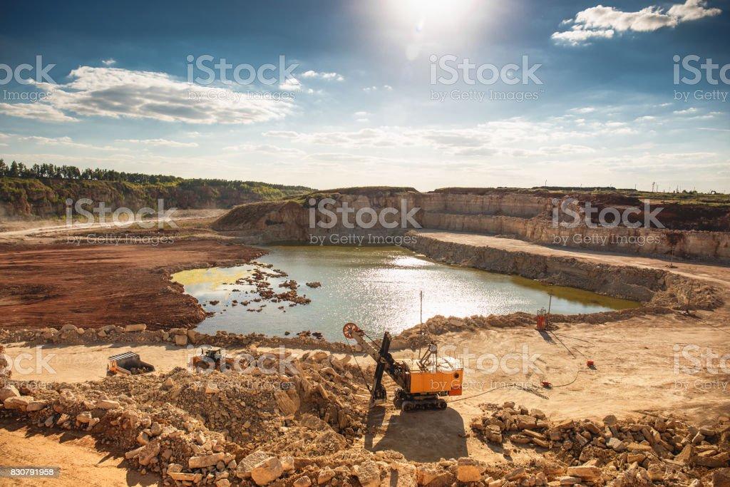 Quarry Landscape Limestone Mining Excavator Stock Photo
