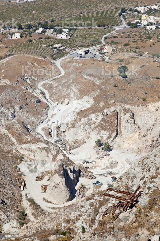Quarry, Santorini stock photo