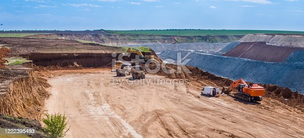 Big quarry, stone mining, special equipment for working in quarries - excavator, freight transport, mining trucks, crushed stone plants territory from above.