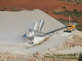 Excavator loading dumper truck on mining site at sunset.