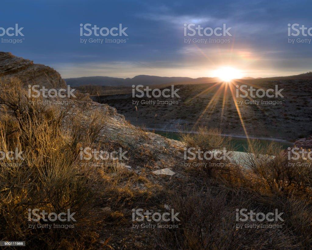 Quarry sunset stock photo