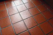 Terracotta kitchen quarry tiles.