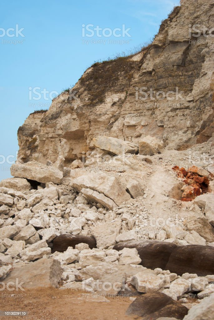 Quarry white stones near beach. Incredible rock formations. Isoalted.