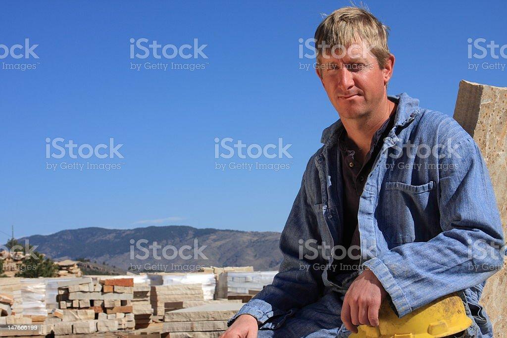 Quarry worker on break royalty-free stock photo
