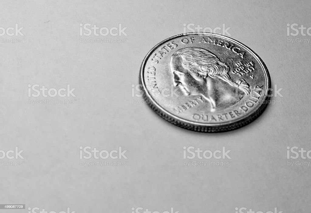 Quarter Dollar & US corrency stock photo