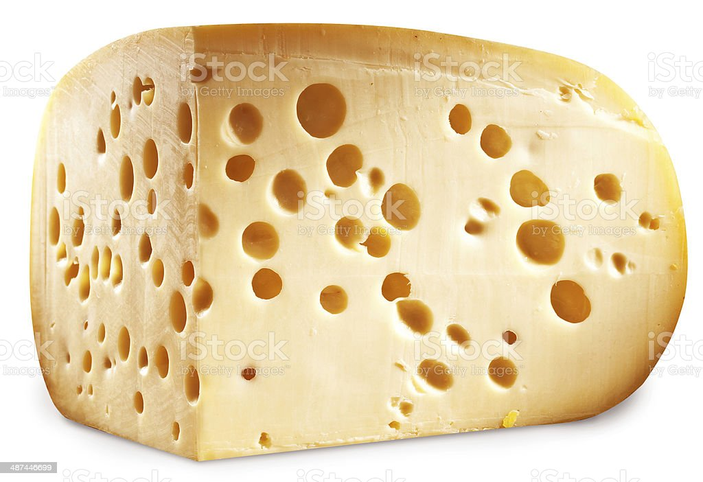 Quarter of Emmental cheese head isolated on a white background. stock photo