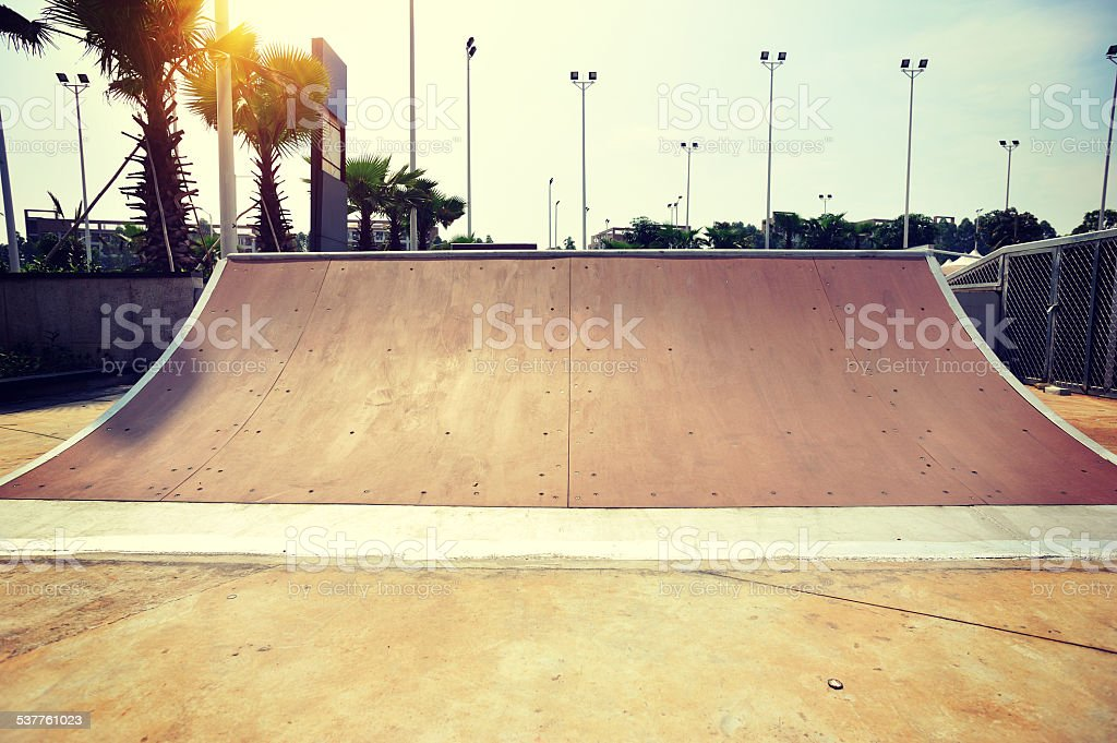 quarter pipe at skatepark stock photo