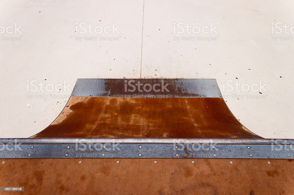 Quarter pipe in skate-park. stock photo