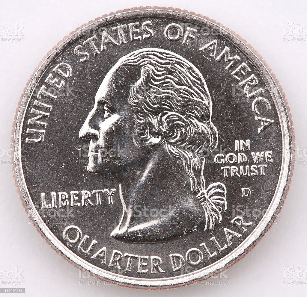 Quarter with Denver Mint mark stock photo