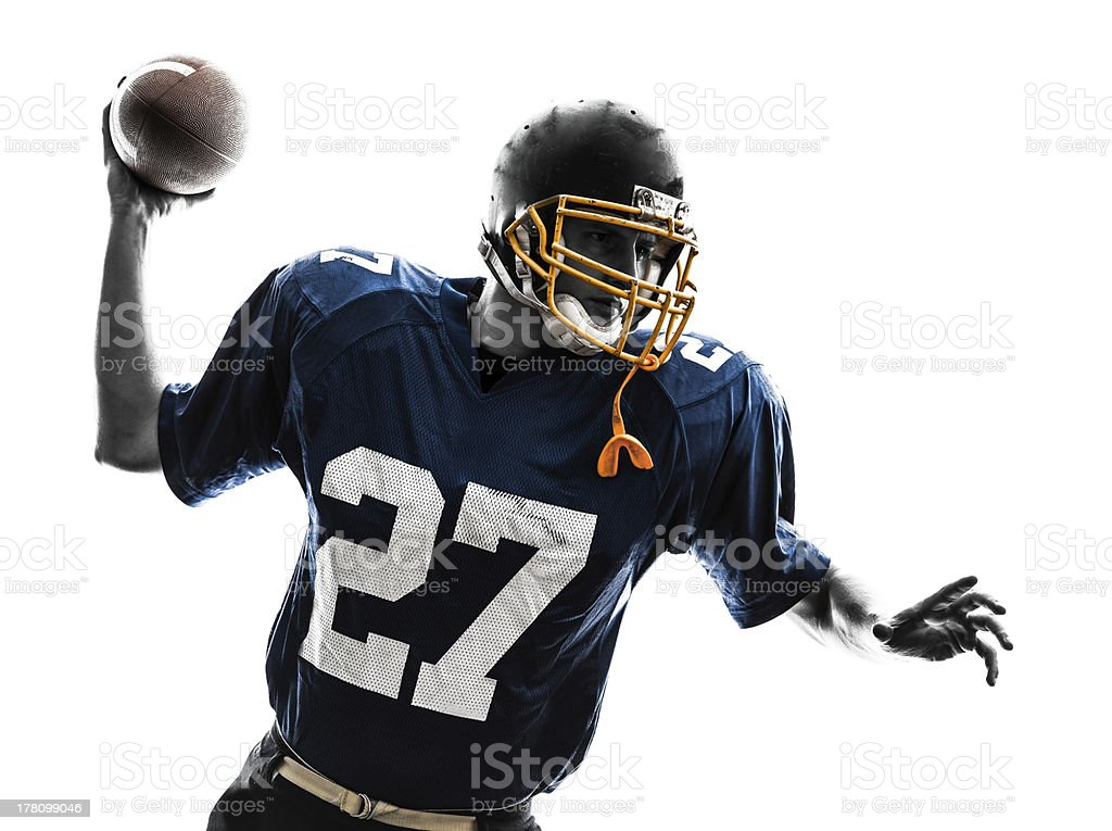 quarterback american throwing football player man silhouette royalty-free stock photo