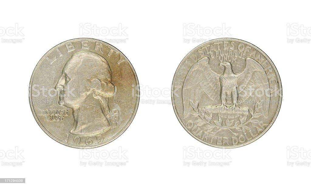 Quarter-Dollar-Coin, USA, 1965 royalty-free stock photo
