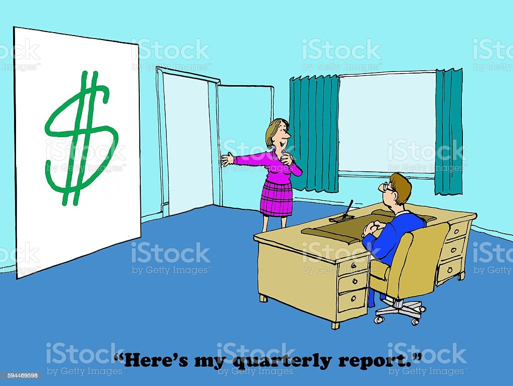 Quarterly Report stock photo