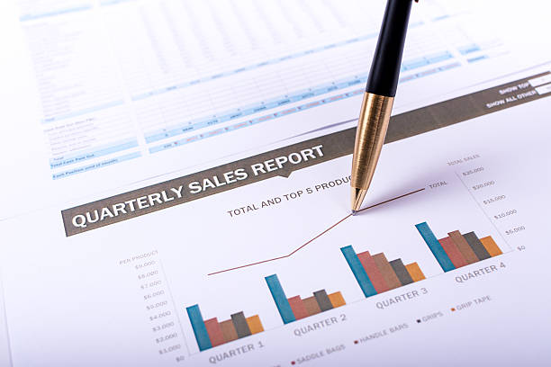 Quarterly sales report stock photo