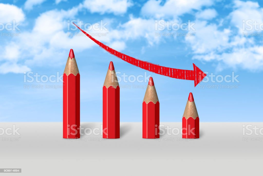 4 quarters business chart shows decrease concept. stock photo