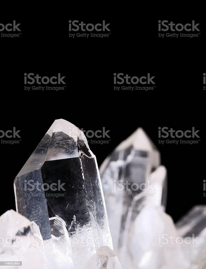 Quartz crystals on black royalty-free stock photo