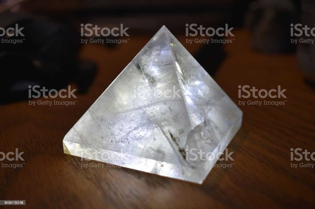 Quartz pyramid stock photo