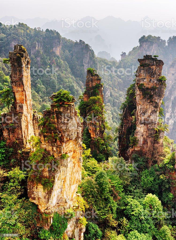 Quartz sandstone pillars of fantastic shapes among green woods stock photo