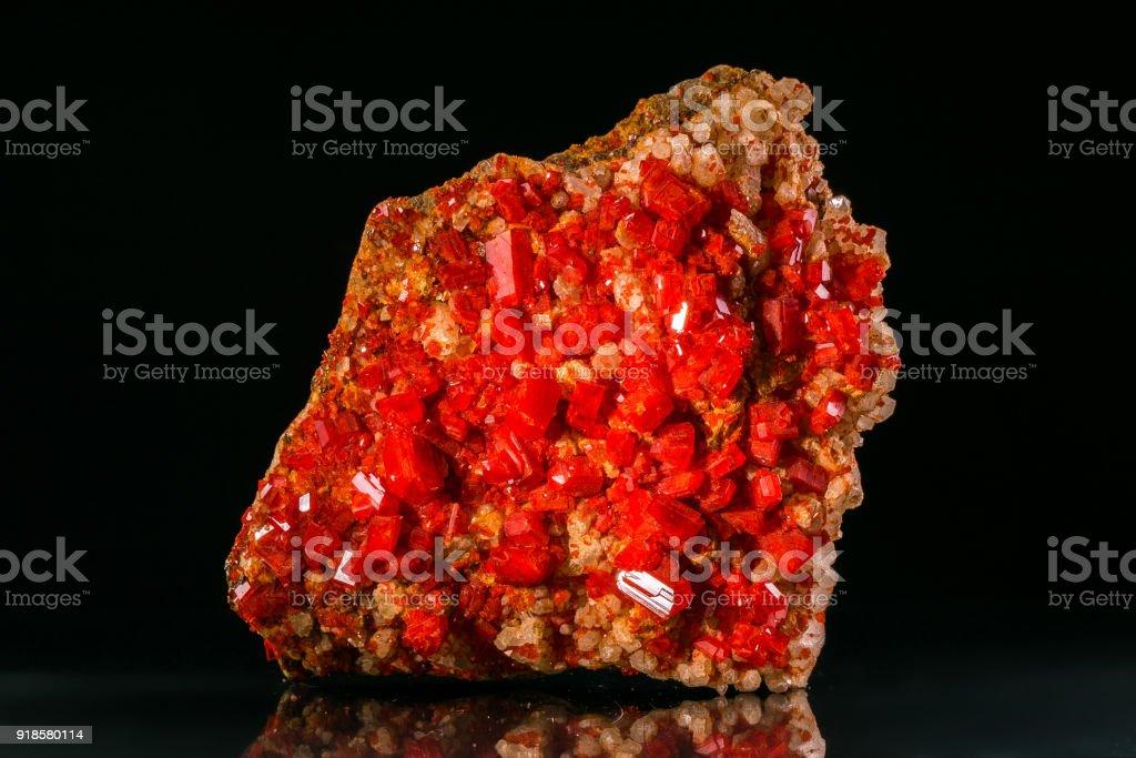 Quartz, Sphalerite, Pyrite, Alum speciman on black background stock photo
