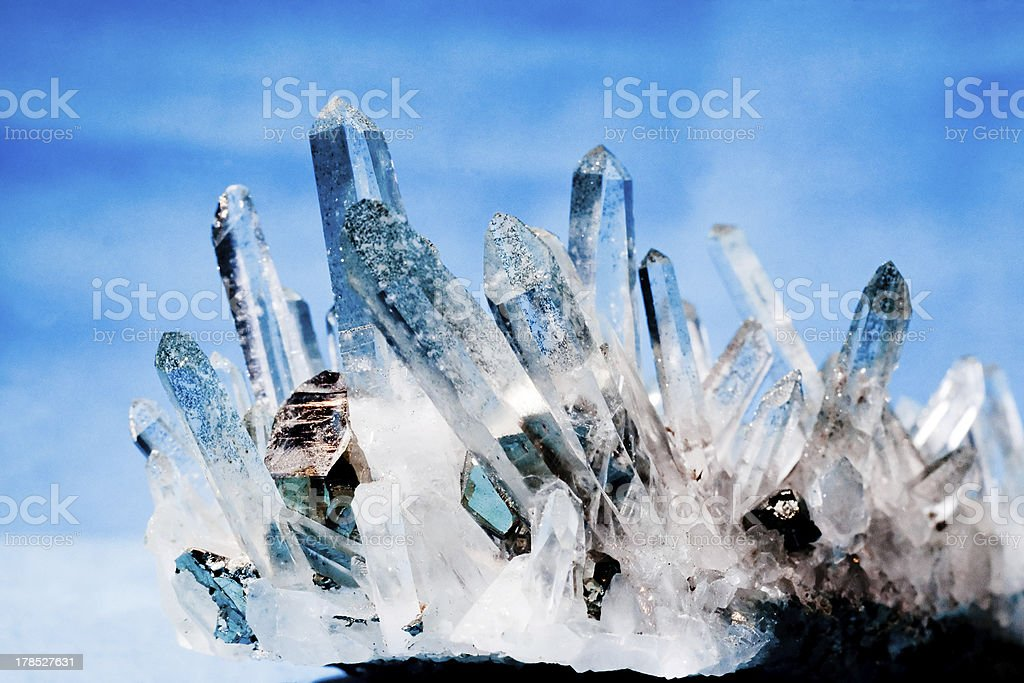 Quartz with pyrite fools gold crystals grown on royalty-free stock photo