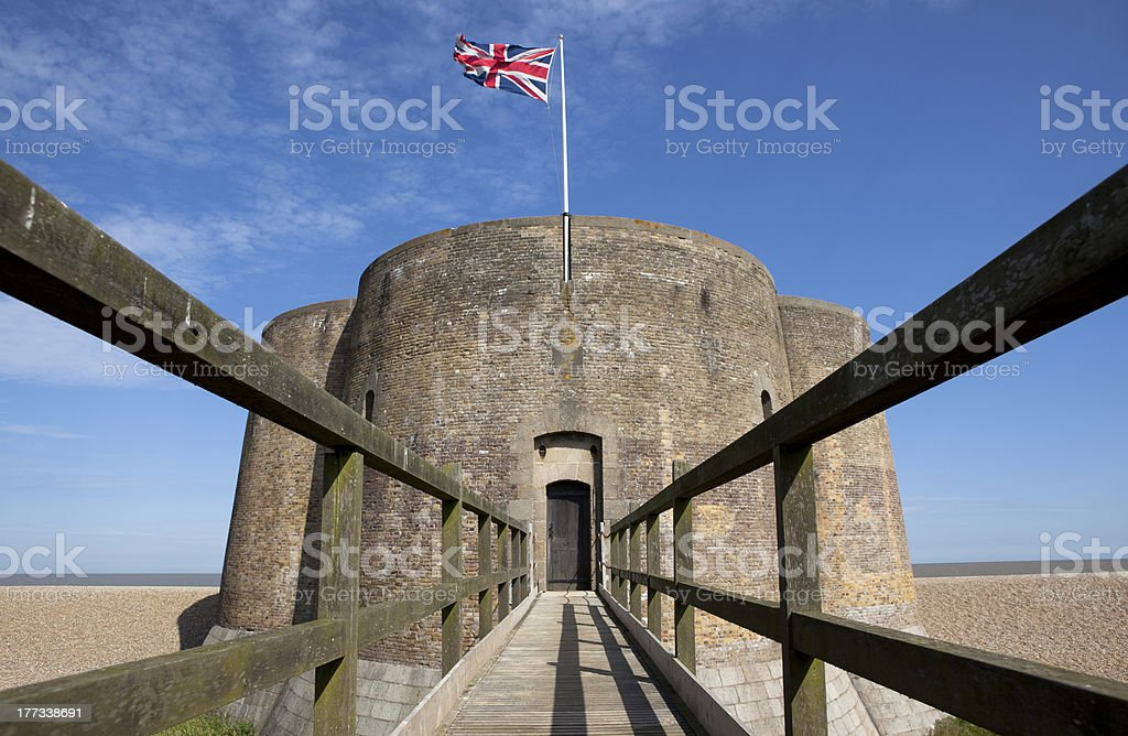 Quatrefoil Martello Tower at Aldeburgh, Suffolk stock photo