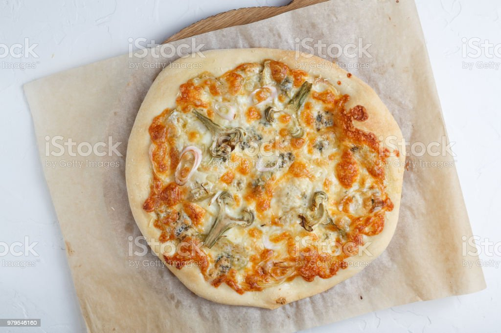 Quatro formagie or four cheese pizza stock photo