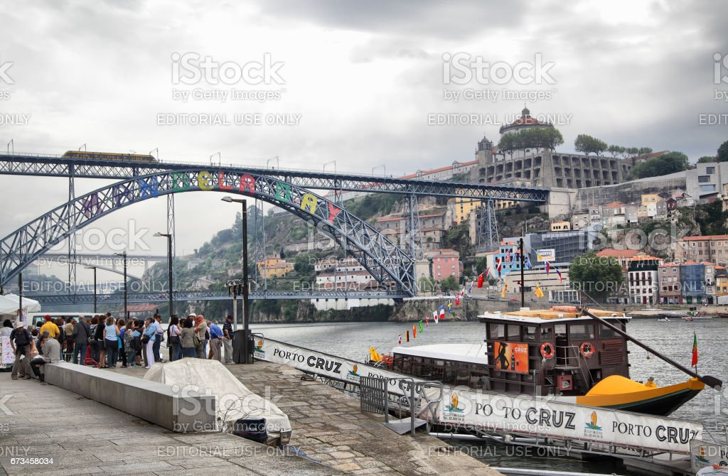 Quay and bridge in Porto stock photo