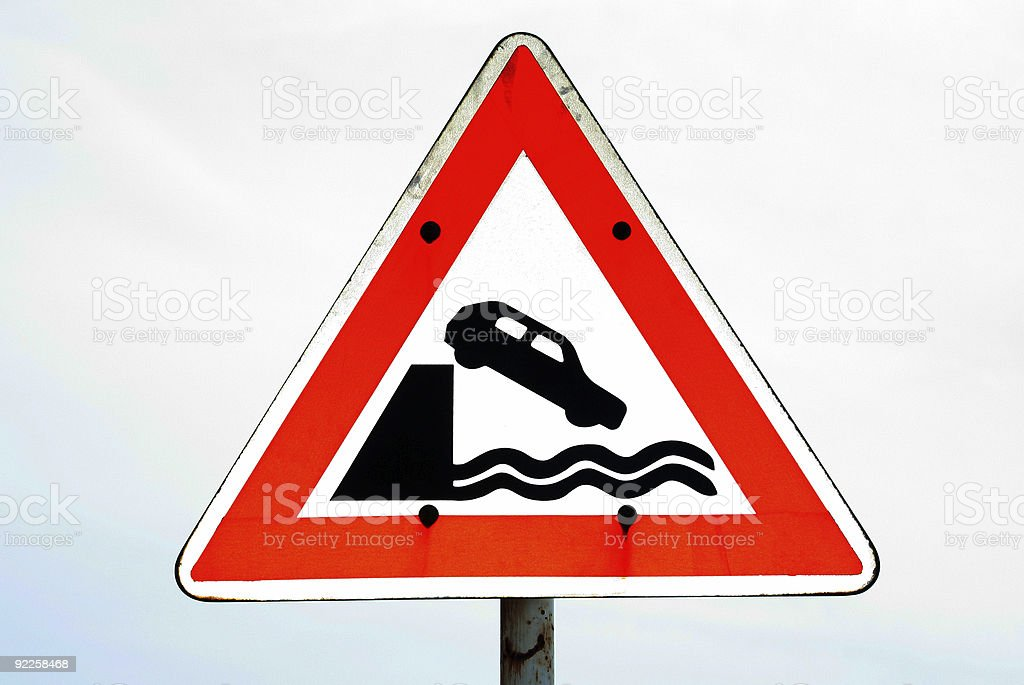 Quay Danger Sign royalty-free stock photo