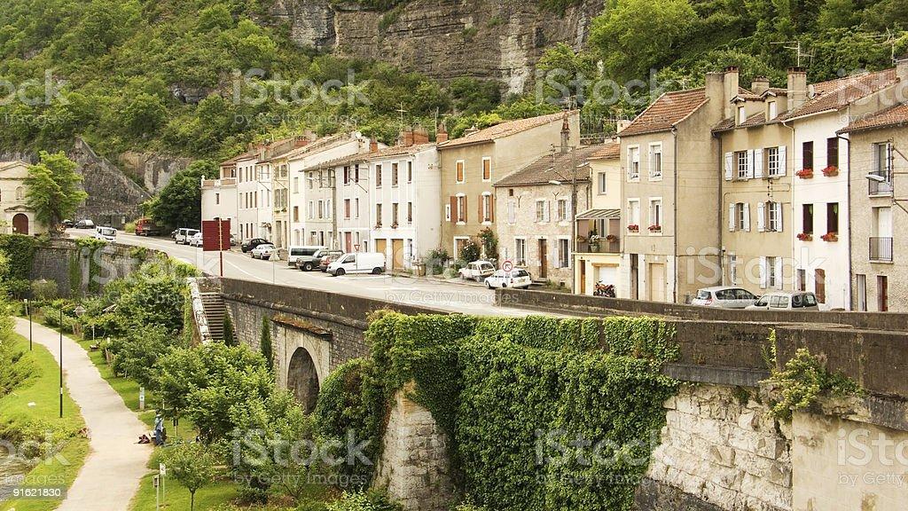 Quay in Cahors stock photo
