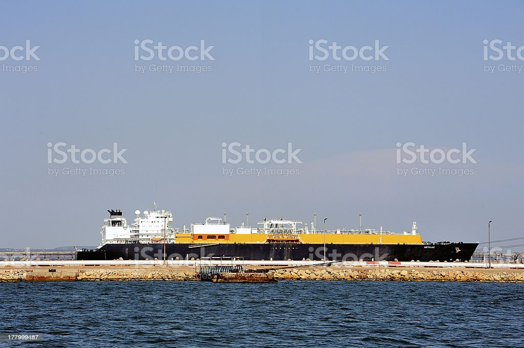 quay methane tanker to discharge royalty-free stock photo