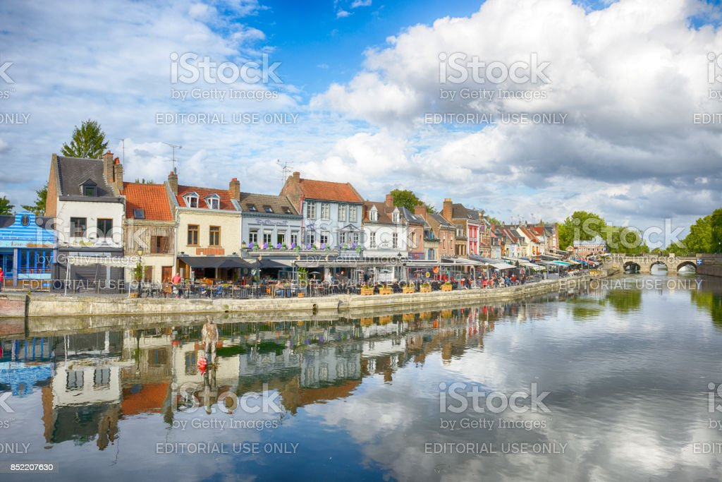 Quay of Belu with traditional houses and Somme River in Amiens stock photo