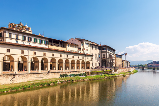 Quay of the Arno River and the Uffizi Gallery in Florence
