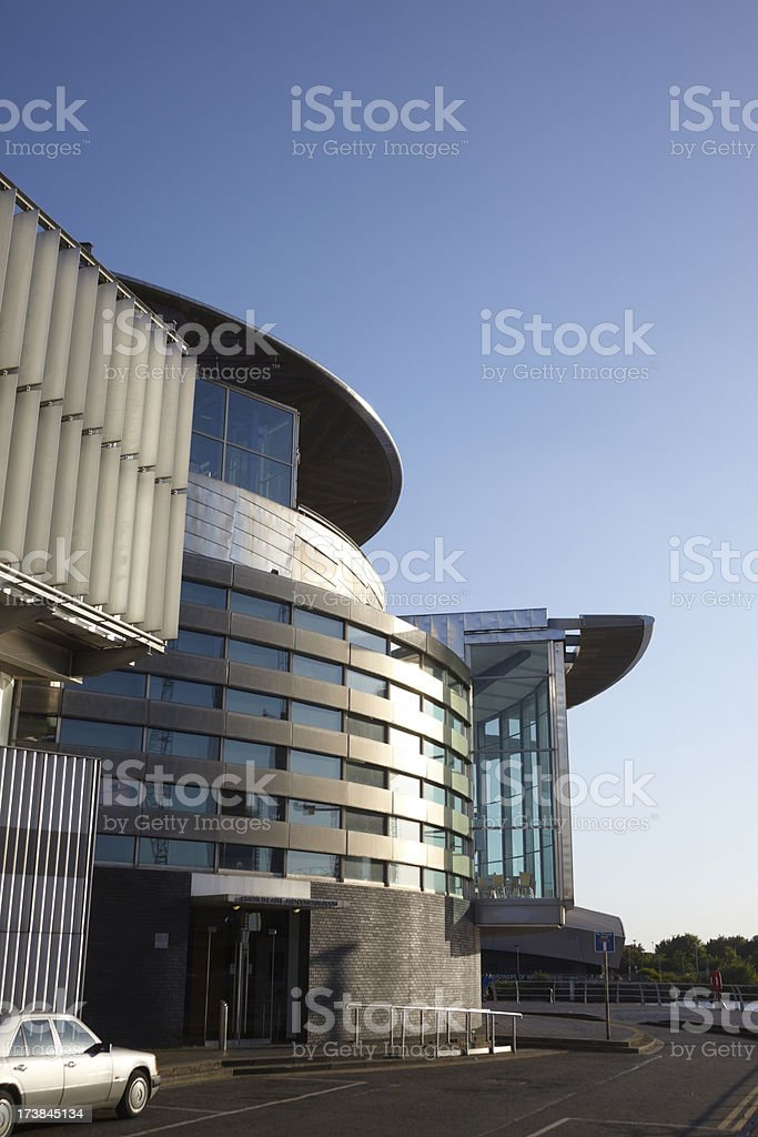Quays Theatre, Salford, Manchester with blue clear sky royalty-free stock photo
