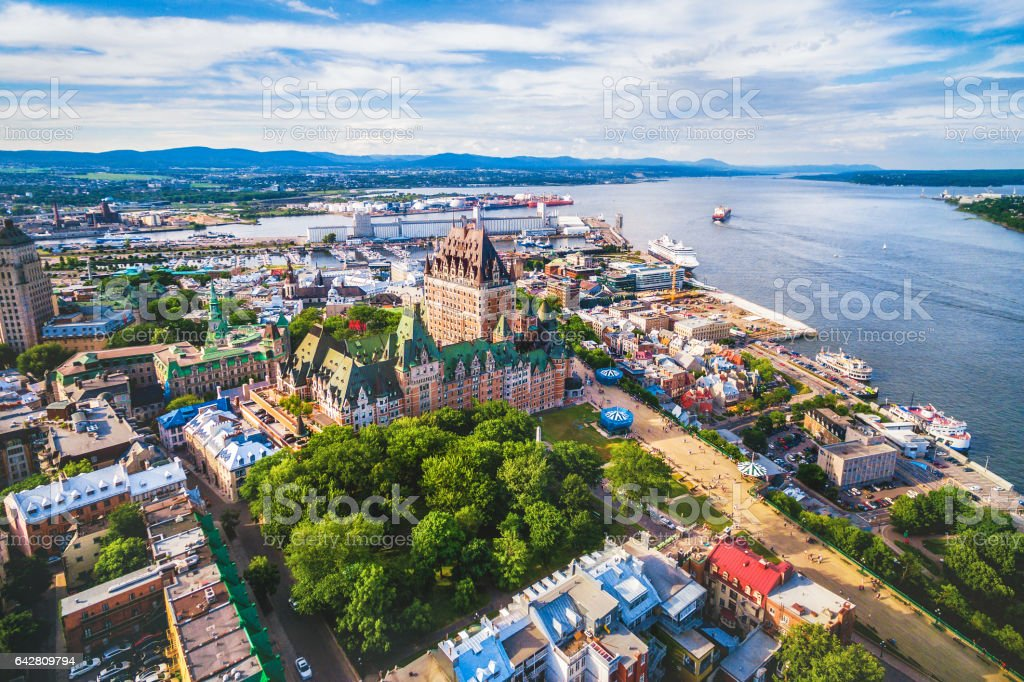 Quebec City and Old Port Aerial View, Quebec, Canada stock photo