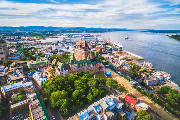 quebec city and old port aerial view, quebec, canada - canada stock photos and pictures