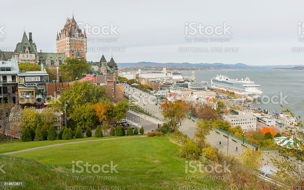 Quebec City and the Saint Lawrence River from the Citadel stock photo