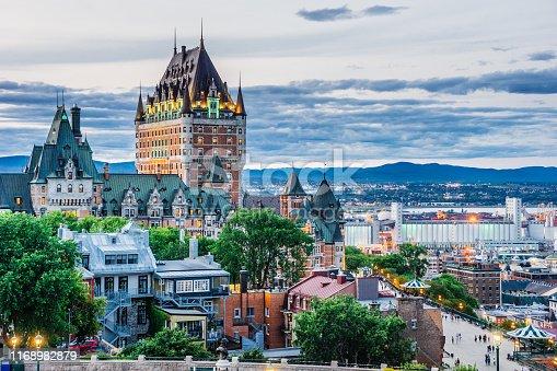Quebec city at sunset from Pierre-Dugua-De-Mons Terrace