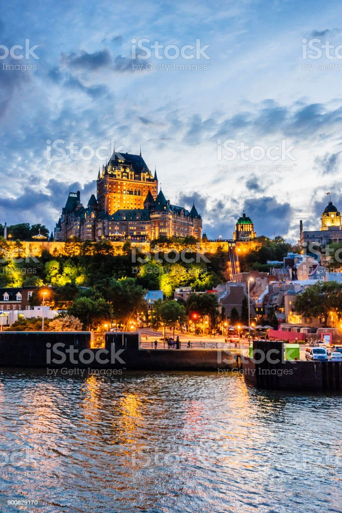 Quebec City at sunset stock photo