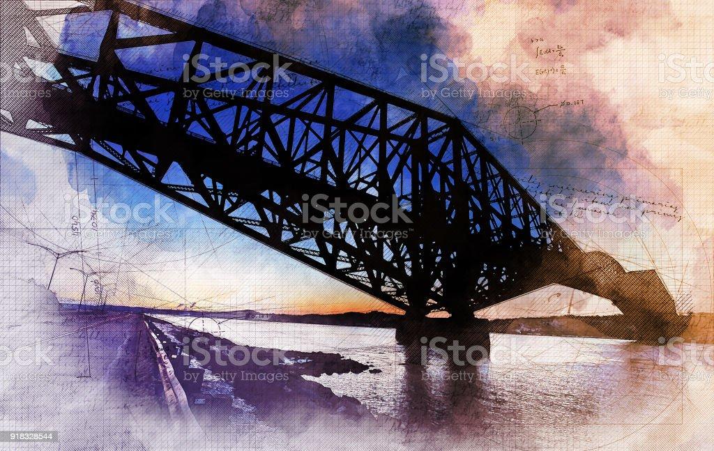 Quebec City Bridge stock photo