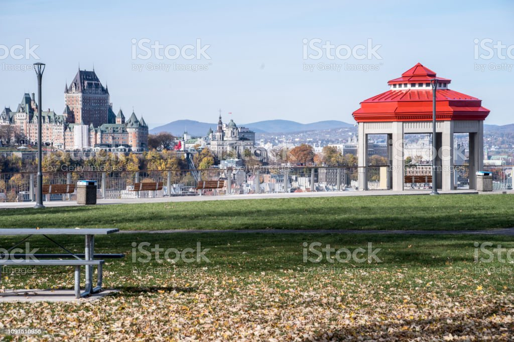Quebec City in the fall with Gazabo foto stock royalty-free