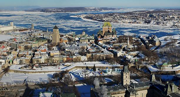 Quebec City in winter, Canada stock photo