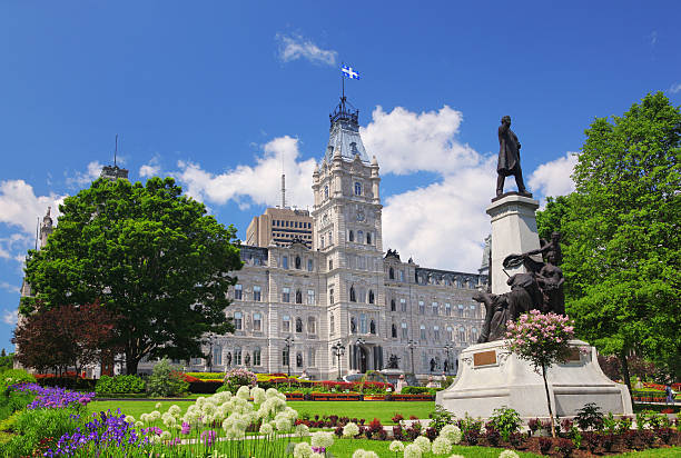 Quebec City Parliament Building and Park stock photo