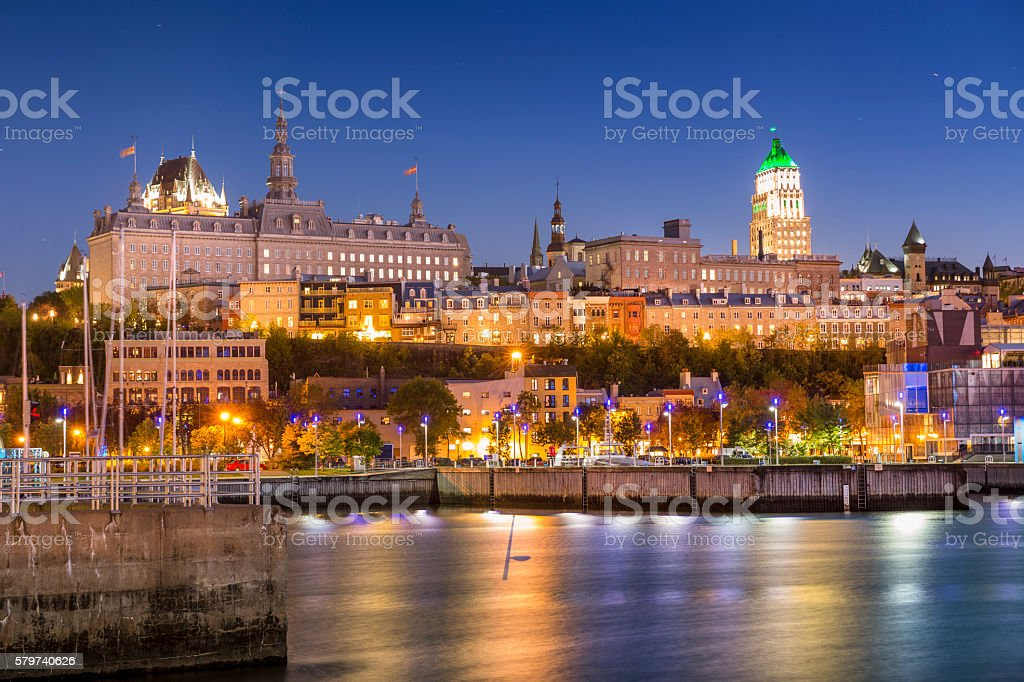 Quebec City skyline at night stock photo