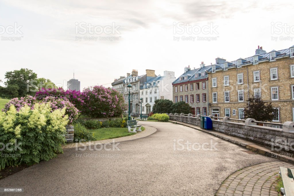 Quebec City streets in one of the most pupular city in canada stock photo