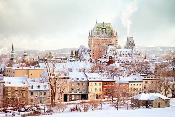 Quebec City Winter Skyline mit Chateau Frontenac – Foto
