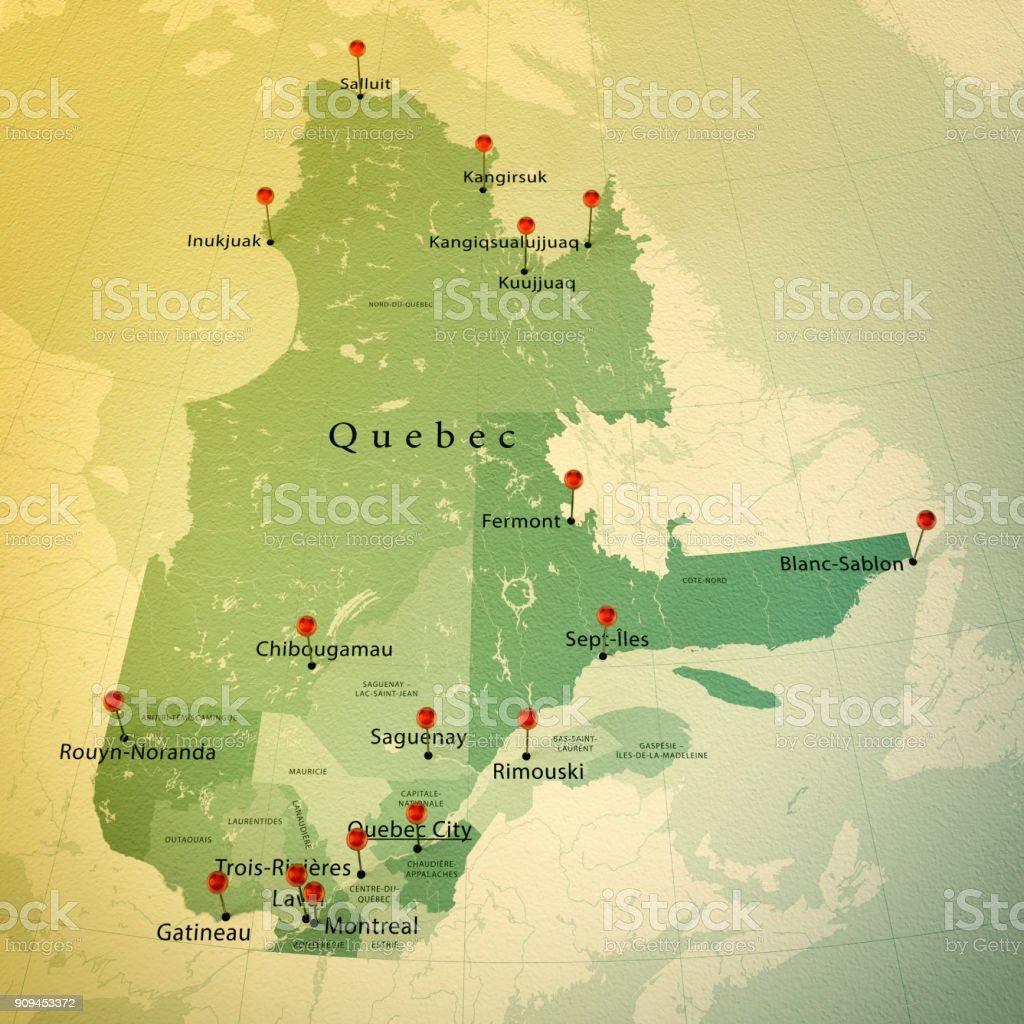 Quebec Karte.Quebec Karte Platz Städte Zylinderstift Vintage Stockfoto Und Mehr