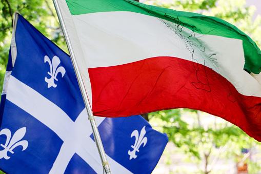 Photo libre de droit de Quebec National Flag And Patriote Flag banque  d'images et plus d'images libres de droit de Canada - iStock