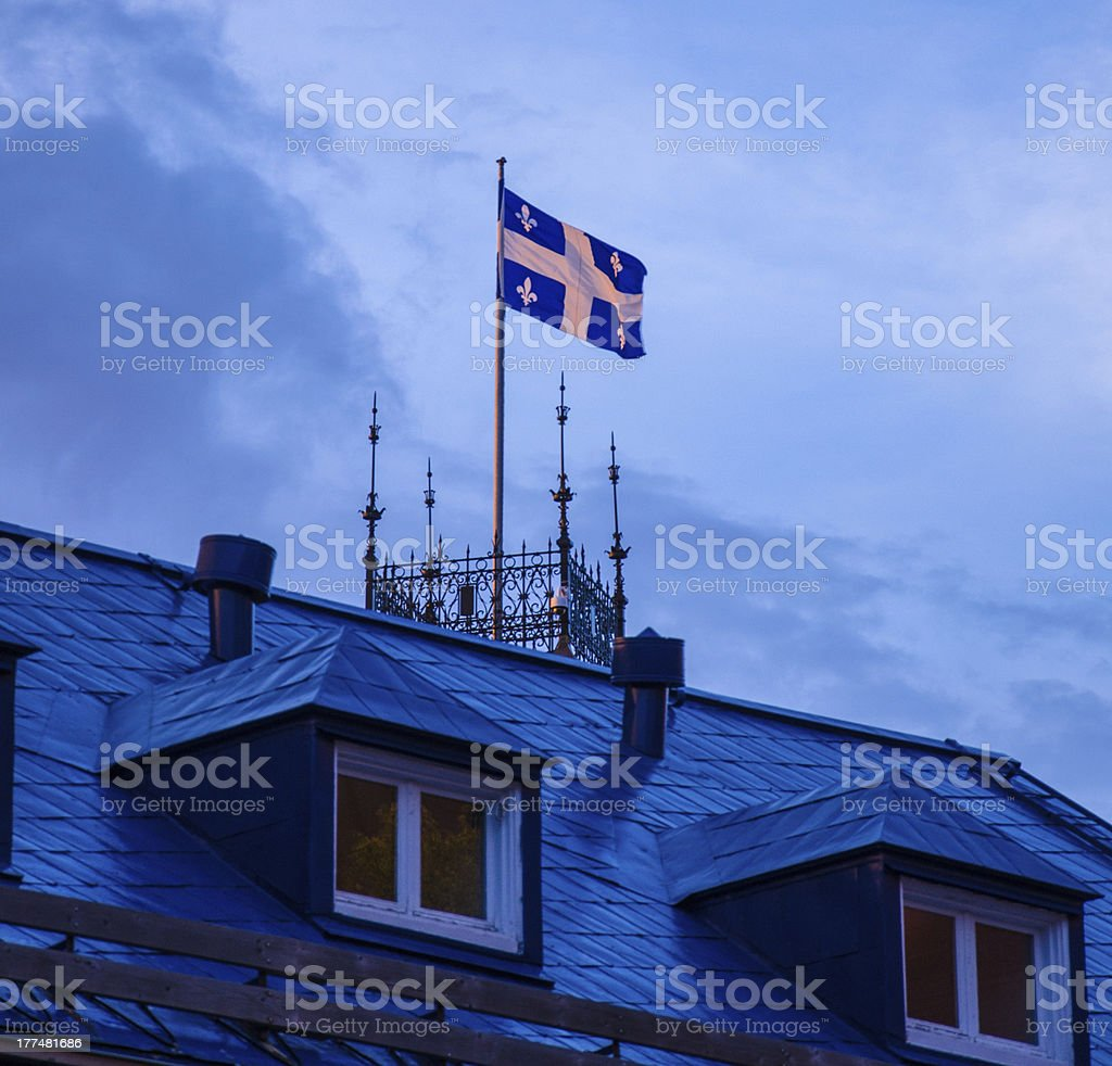 Quebec Provincial Flag, Fleur De Lys, Symbol royalty-free stock photo