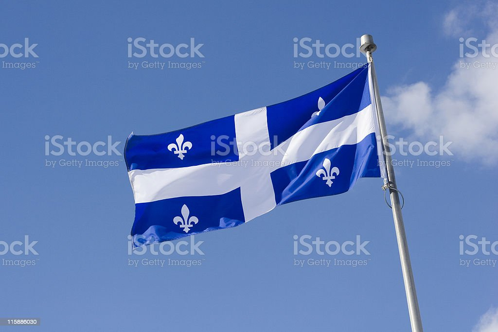 Quebec Provincial Flag stock photo