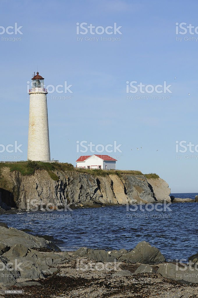 Quebec, the lighthouse of Cap les Rosiers in Gaspesie royalty-free stock photo