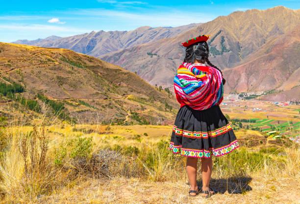 Quechua Indigenous in Cusco Province, Peru stock photo